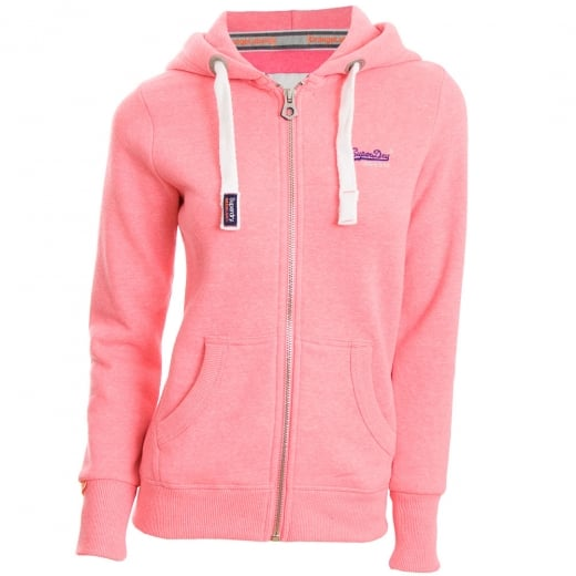 Superdry Ladies Orange Label Primary Zip Hoodie Blizzard Pink Snowy