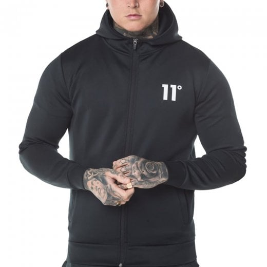11 Degrees Core Zip Poly Top Black