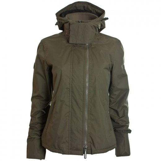 Superdry Ladies Arctic Hooded Windcheater Jacket Deep Olive/Black
