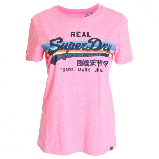 Superdry Ladies Vintage Logo Retro Rainbow Entry T-Shirt Neon Pink Snowy