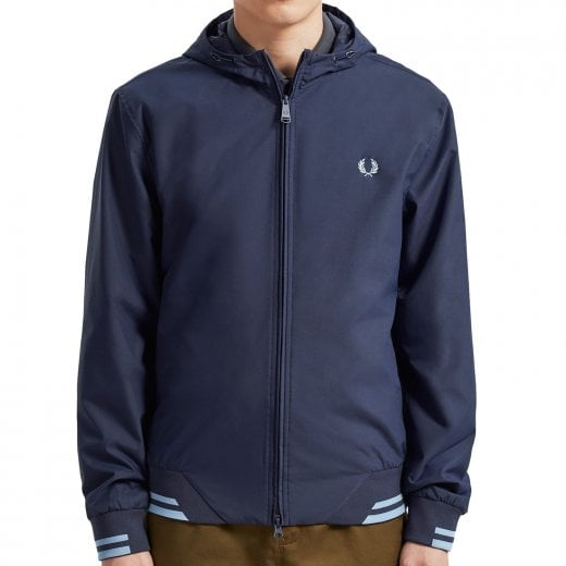 Fred Perry J7500 Tipped Hooded Sports Jacket Carbon Blue