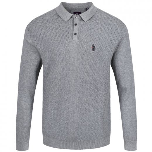 Luke 1977 Job And Knock Knitted L/S Polo Grey Marl
