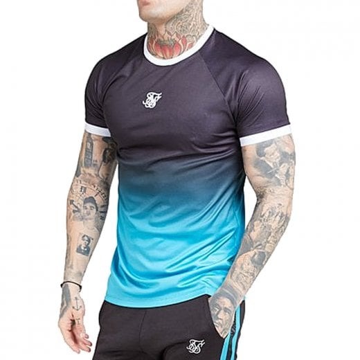 SikSilk Raglan Straight Hem Fade T-Shirt Black/Teal