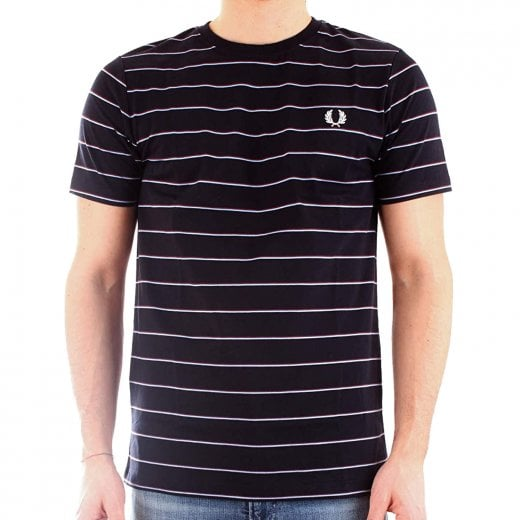 Fred Perry M8532 Fine Stripe T-Shirt Navy
