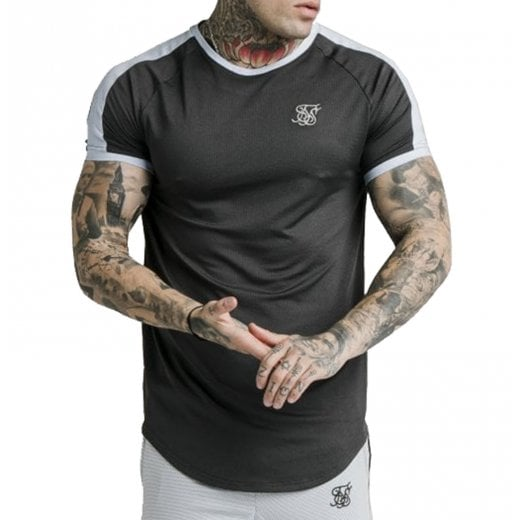 SikSilk Eyelet Tech T-Shirt Charcoal Grey