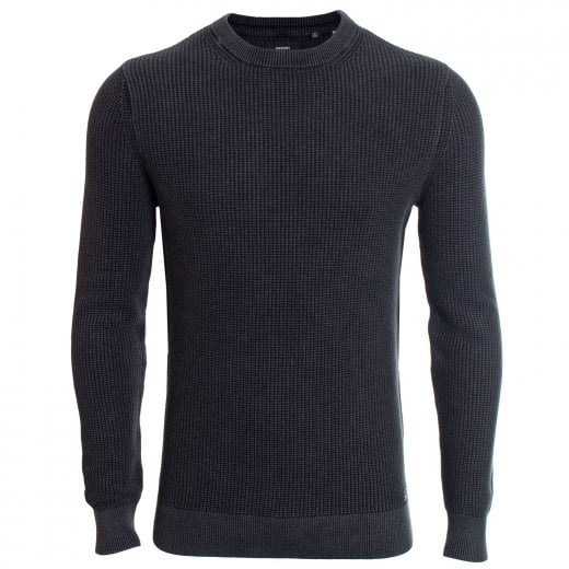 Superdry Academy Dyed Texture Crew Knitwear Washed Carbon Black