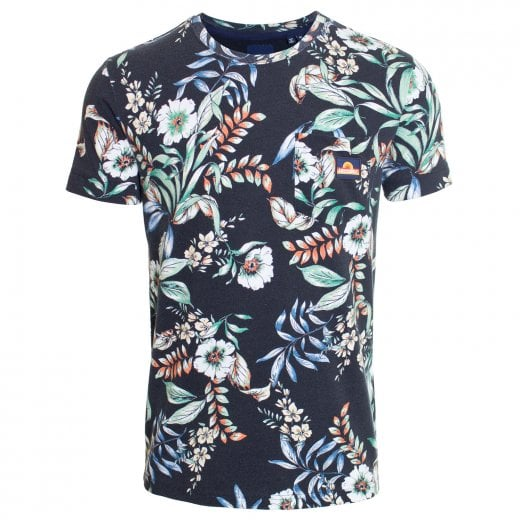 Superdry AOP Pocket T-Shirt Black Hawaiian
