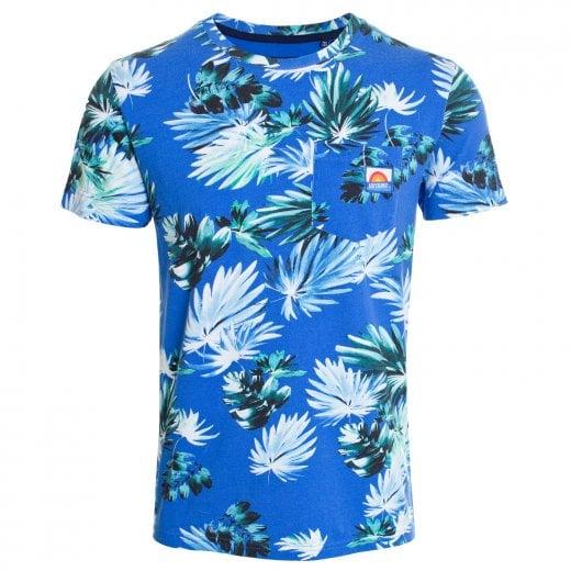 Superdry AOP Pocket T-Shirt Brush Palm Blue