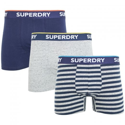 Superdry Classic Boxer Triple Pack Navy/Grey