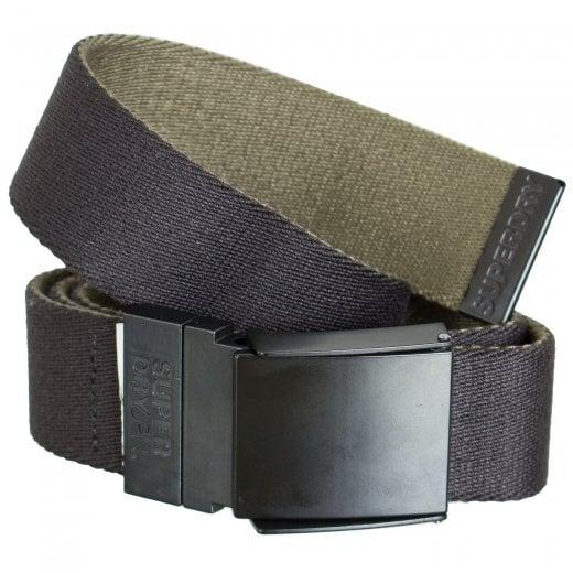 Superdry Reversible Canvas Belt Black/Khaki