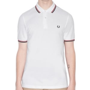 Fred Perry M3600 Twin Tipped Polo White/Red/Navy