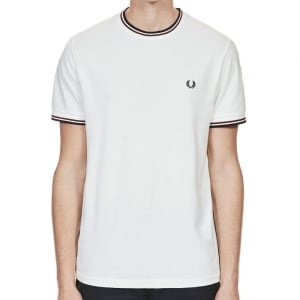 Fred Perry M1588 Twin Tipped T-Shirt Snow White
