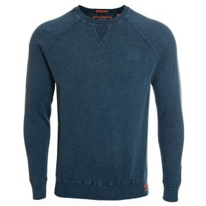 Superdry Garment Dye L.A. Crew Knitwear Washed Dry Storm Navy