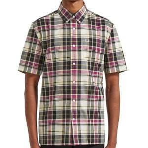 Fred Perry M6532 Black Madras S/S Shirt Soft Yellow