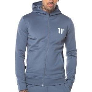 11 Degrees Core Poly Zip Hoodie Twister Grey
