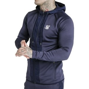 SikSilk Creased Nylon Zip Through Hoodie Navy