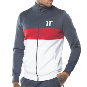 11 Degrees Panel Block Poly Track Top Anthracite/Red/White