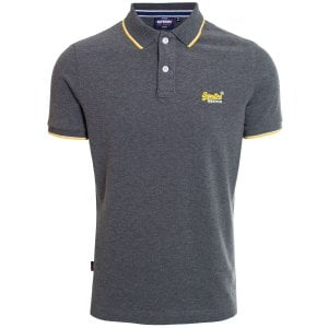 Superdry Poolside Pique Polo Black/Grey Marl
