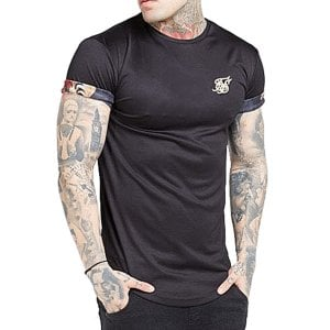 SikSilk Roll Sleeve T-Shirt Black Floral