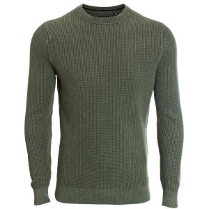 Superdry Academy Dyed Texture Crew Knitwear Washed Dark Olive Green