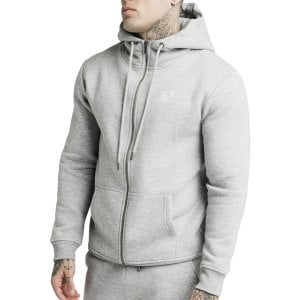 SikSilk Zip Through Funnel Neck Hoodie Grey Marl