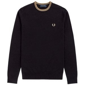 Fred Perry K9601 Classic Crew Knitwear Black/Champagne