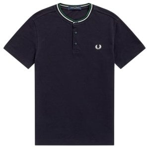 Fred Perry M9600 Striped Neck Henley T-Shirt Navy