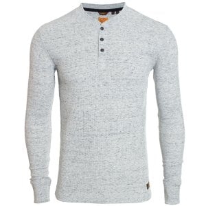 Superdry Micro Texture Henley L/S Top Grey Space Dye