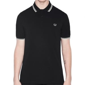 Fred Perry M3600 Twin Tipped Polo Black/Porcelain
