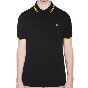 Fred Perry M3600 Twin Tipped Polo Black/Yellow