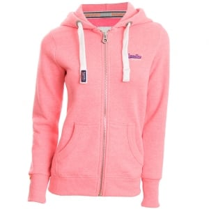 Superdry Ladies Orange Label Primary Zip Hoodie Blizzard Pink Snowy