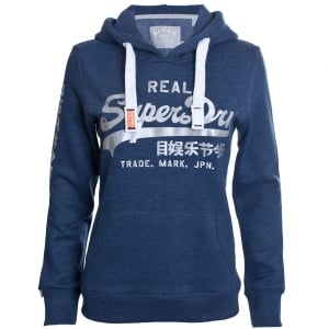 Superdry Ladies Vintage Logo Satin Entry Hoodie Princedom Blue Marl