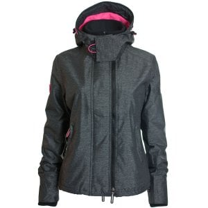 Superdry Ladies Arctic Hooded Pop Zip Windcheater Jacket Black Marl/Hot Pink