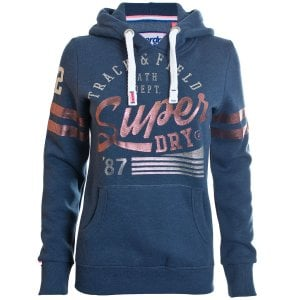 Superdry Ladies Track & Field Overhead Hoodie Track Star Navy Marl