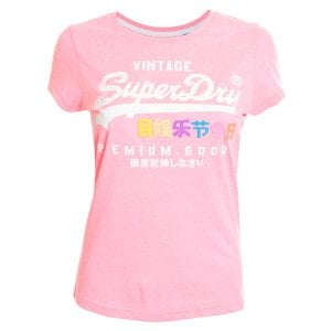 Superdry Ladies Premium Goods Puff Entry T-Shirt Neon Pink Snowy