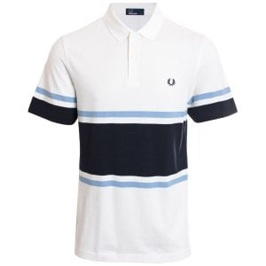 Fred Perry M5578 Bold Fine Stripe Polo Snow White