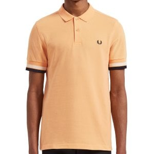 Fred Perry M4566 Bold Cuff Pique Polo Apricot Nectar