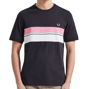 Fred Perry M6518 Striped Chest Panel T-Shirt Navy