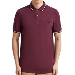 Fred Perry M3600 Twin Tipped Polo Mahogany/Wht/Blk