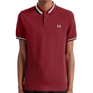 Fred Perry M7604 Abstract Collar Pique Polo Dark Red