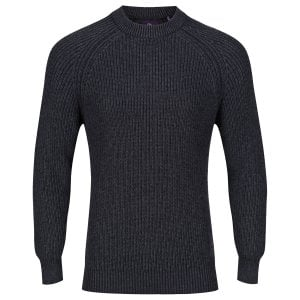 Luke 1977 Plated Crew Knitwear Charcoal Marl