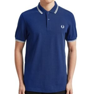 Fred Perry M3600 Twin Tipped Polo Medieval Blue/Snow White