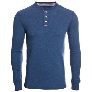 Superdry Heritage L/S Grandad Top Creek Navy Feeder