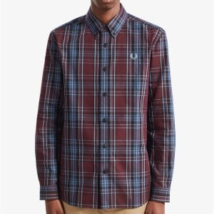 Fred Perry M7565 Winter Tartan L/S Shirt Mahogany