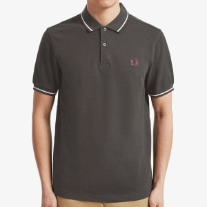 Fred Perry M3600 Twin Tipped Polo Anthracite/White/Mahogany
