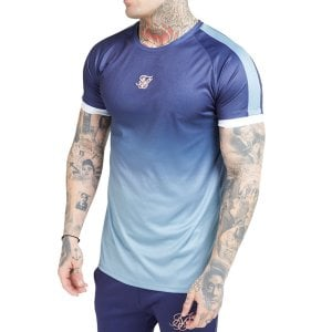 SikSilk Raglan Fade Straight Hem T-Shirt Urban Blue/Grey