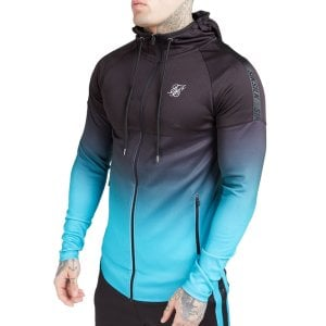 SikSilk Athlete Hybrid Zip Through Hoodie Black/Teal