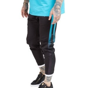 SikSilk Fitted Tape Track Pants Black/Teal