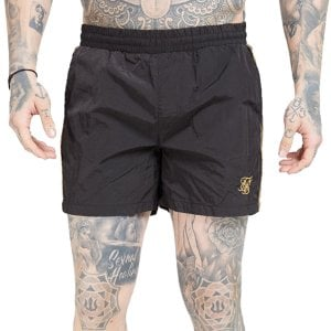 SikSilk Crushed Nylon Tape Swim Shorts Black/Gold