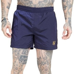 SikSilk Crushed Nylon Tape Swim Shorts Navy/Gold